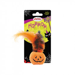 RECORD HORROR CAT TOY PUMPKIN WITH FEATHER 9 CM