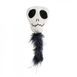 RECORD HORROR CAT TOY SKULL WITH FEATHER 7,5X18 CM