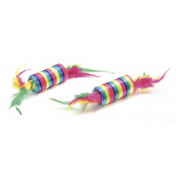 2 RAINBOW CYLINDERS WITH FEATHERS