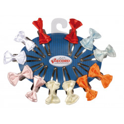 SATEN BOWS, WITH CLIP ASSORTED COLOURS